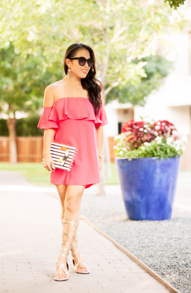 Pink Off-Shoulder Dress + Gladiator Sandals