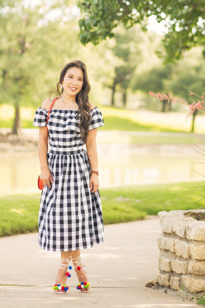cute & little blog   petite fashion   gingham off-shoulder dress, red saddlebag, pom pom heel sandals, july 4th summer outfit