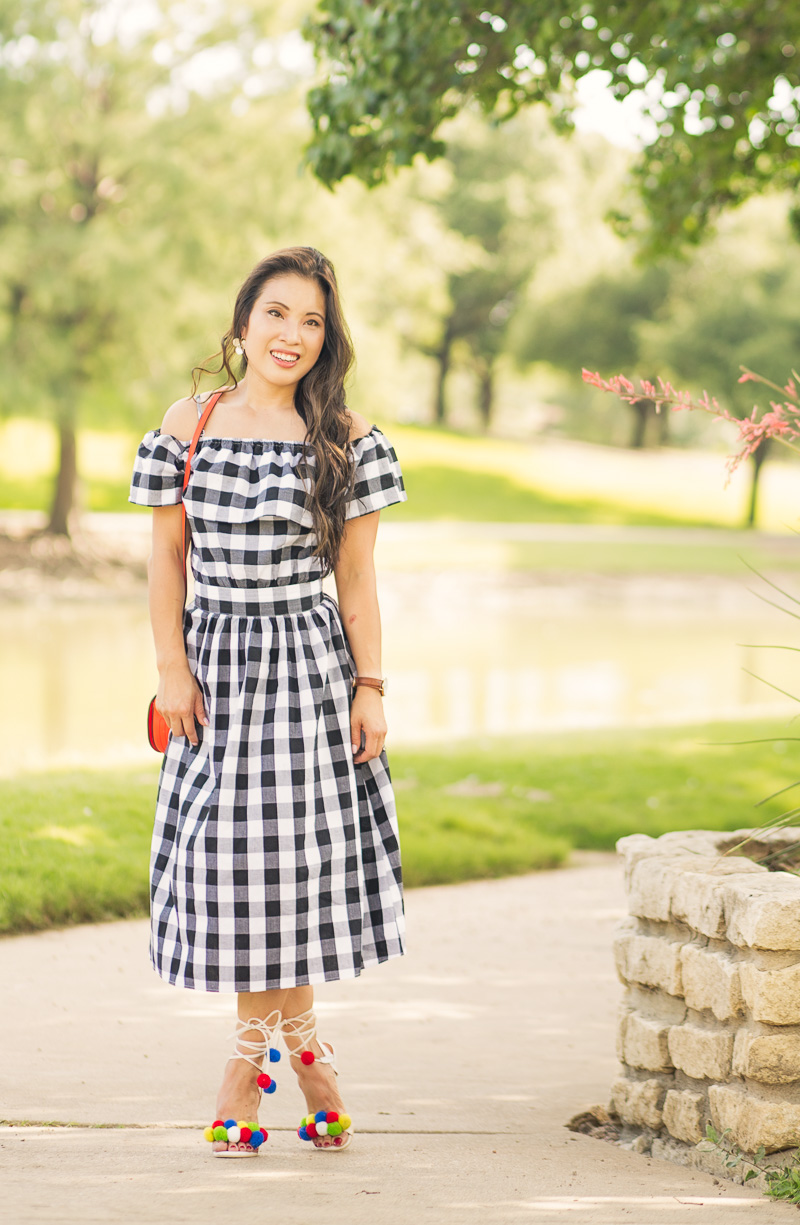 cute & little blog | petite fashion | gingham off-shoulder dress, red saddlebag, pom pom heel sandals, july 4th summer outfit