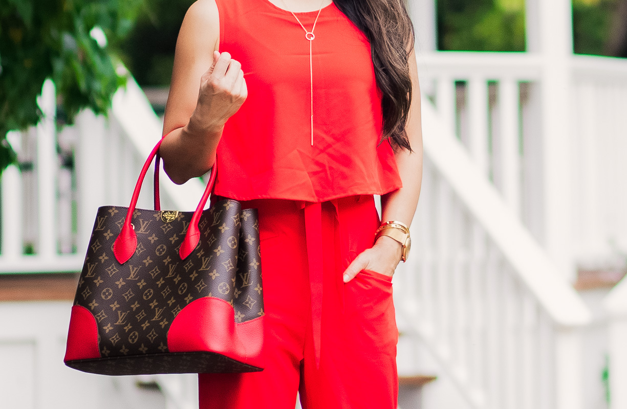 cute & little   petite fashion blog   red jumpsuit, kendra scott adair earrings, long y necklace, louis vuitton flandrin tote, nude strappy heels   summer date night outfit