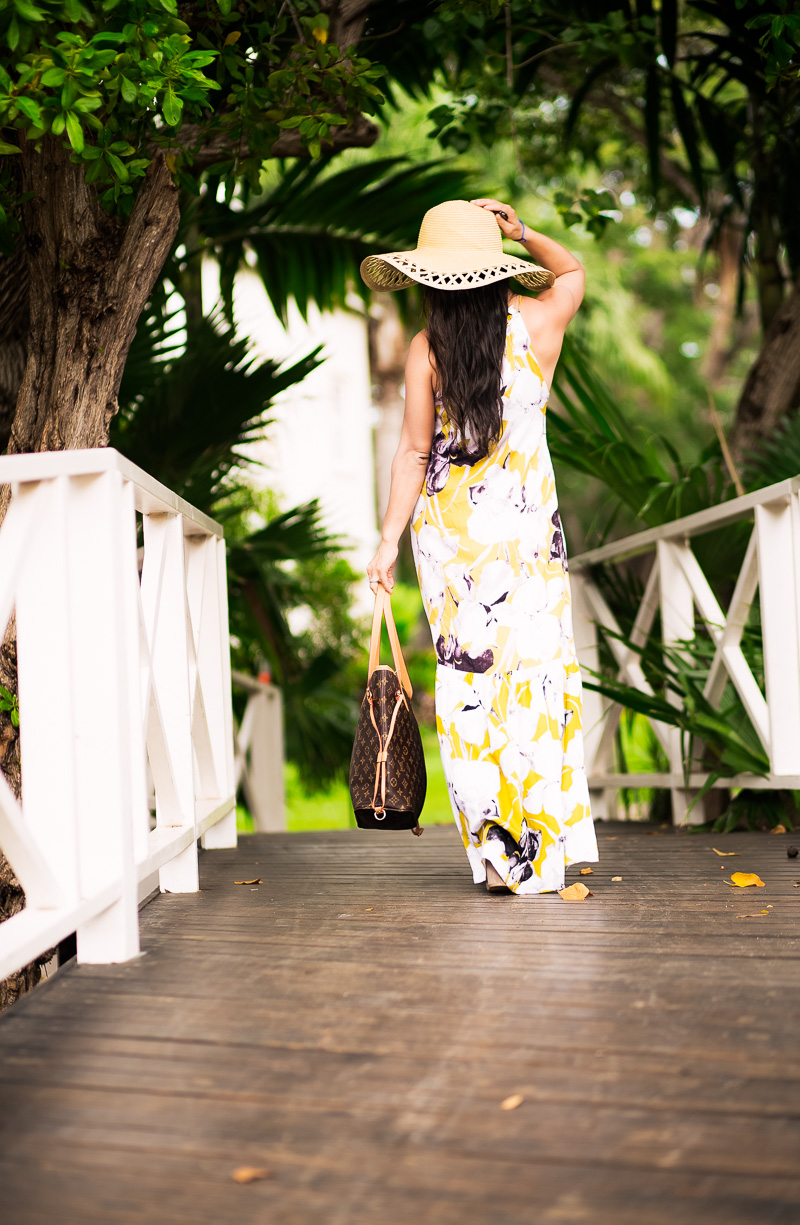 cute & little | petite fashion blog | yellow floral maxi dress, floppy hat, lace-up strappy heels | spring summer beach outfit