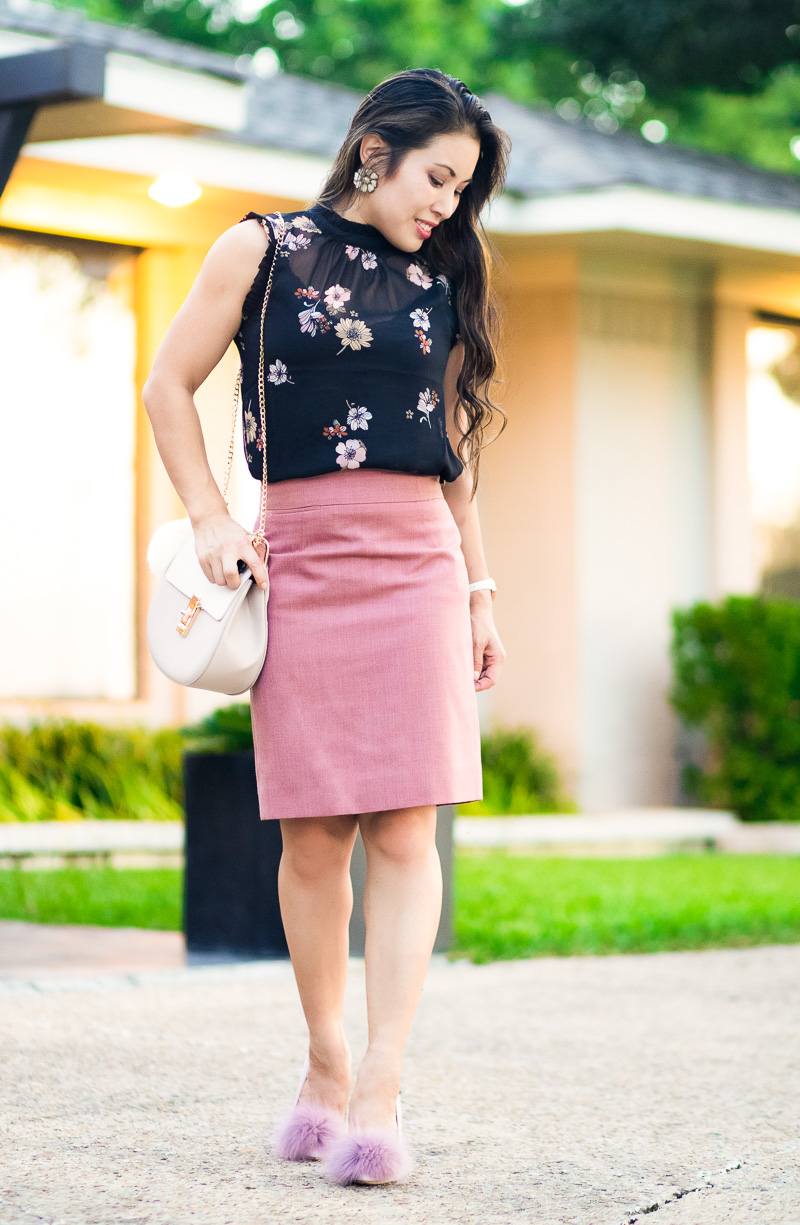 cute & little | petite fashion blog | who what wear black floral ruffle shell, j.crew super 120 pink pencil skirt, pour la camilla | summer fall outfit