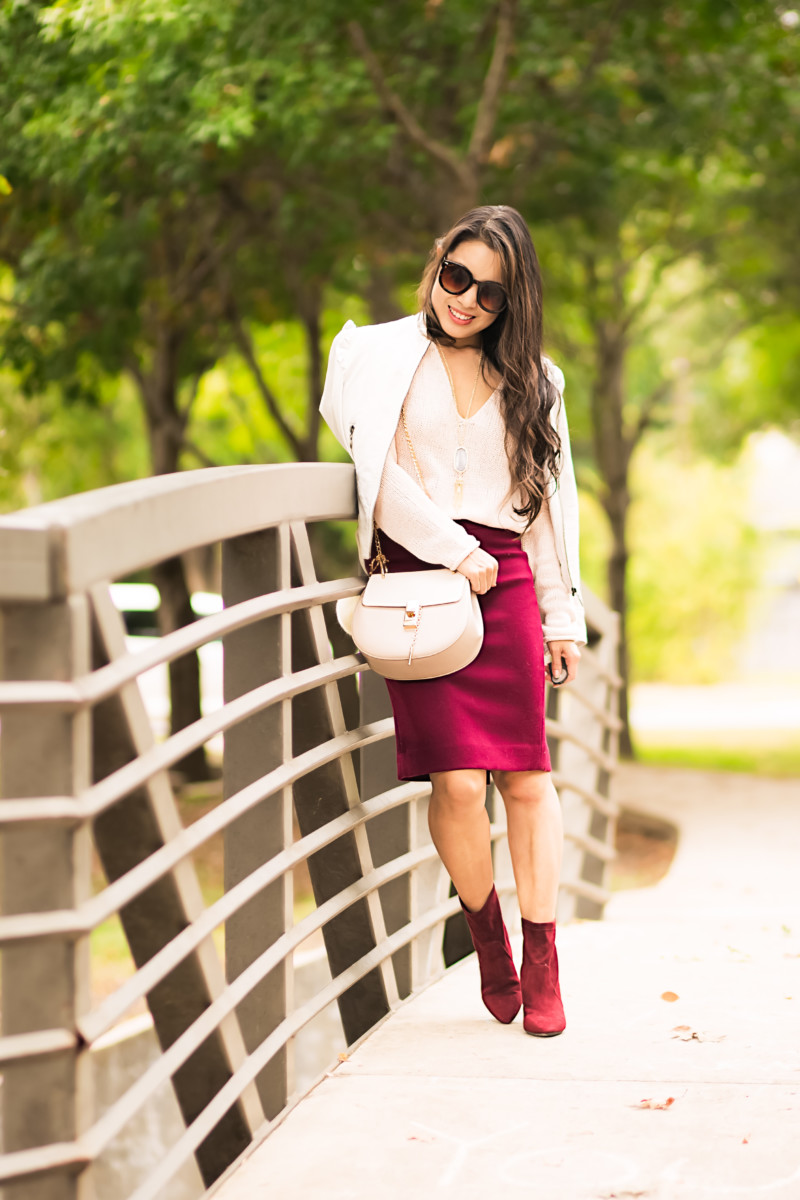 cute & little blog   pink knit sweater, burgundy no. 2 pencil skirt, aerosoles excess ankle boots   fall winter work outfit
