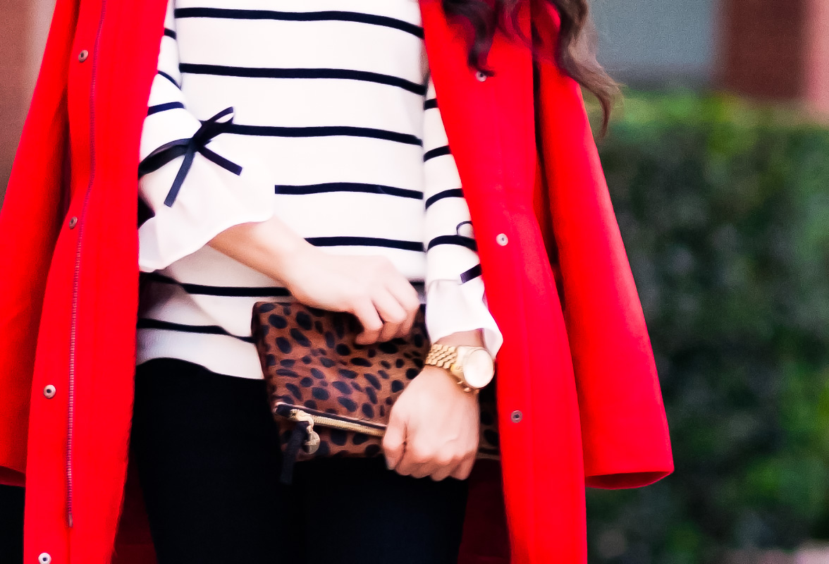 cute & little | petite fashion blog | j.jill red cambridge coat, striped sweater, leopard clutch | fall winter holiday outfit