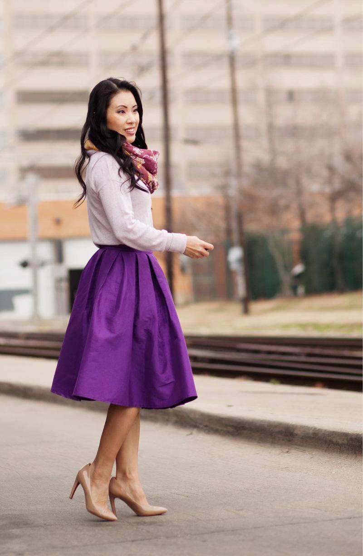 cute & little | petite fashion blog | purple flare midi skirt | spring outfit