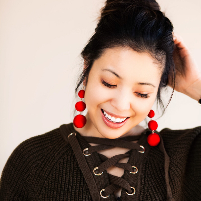 cute & little | petite fashion blog | olive lace-up sweater, baublebar red crispin drop earrings