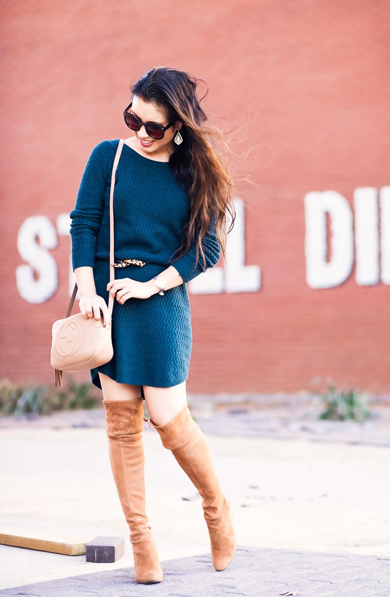 cute & little blog | loft textured sweater dress, leopard belt, stuart weitzman highland toffee over the knee otk boots, gucci soho disco | fall winter outfit