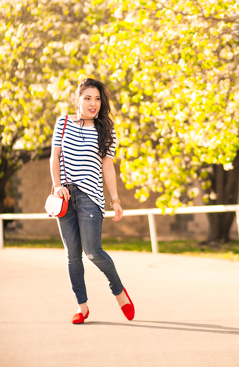 Parisienne With My Striped Shirt and a Hint of Red by Kileen from cute and little