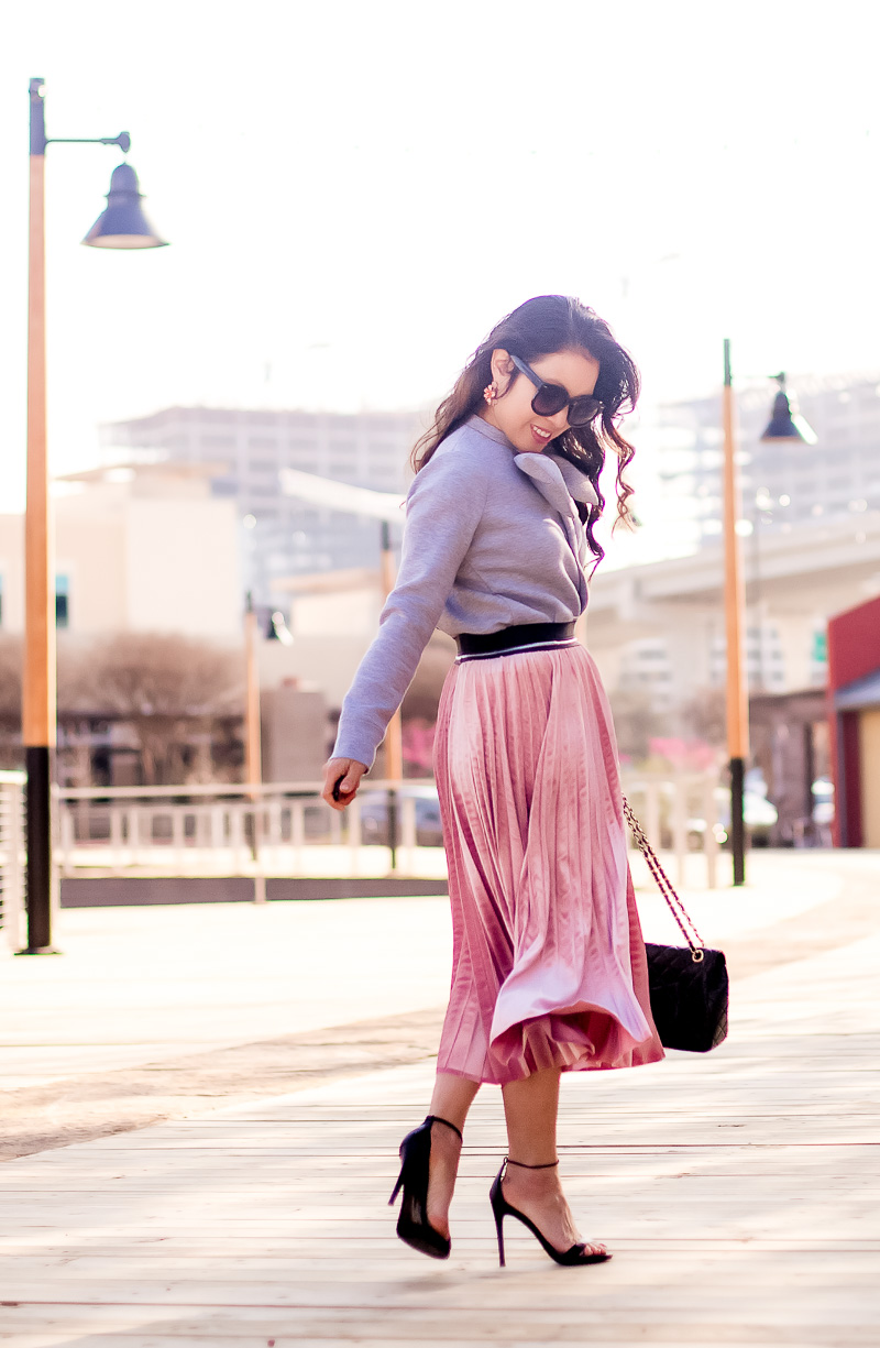 cute & little | petite fashion blog | velvet pleated pink midi skirt, gray bow sweatshirt, steve madden stecy, chanel quilted bag | winter outfit