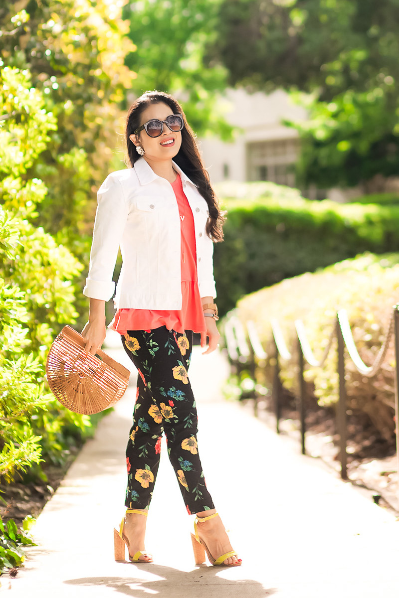 cute & little | dallas petite fashion blog | white denim jacket, coral peplum top, old navy pixie floral pants, yellow strappy sandals, cult gaia ark bag | spring outfit