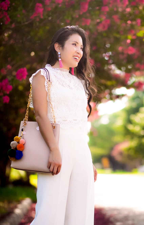 cute & little blog | dallas petite fashion | white lace crochet top, white culottes, pom pom bag | summer outfit