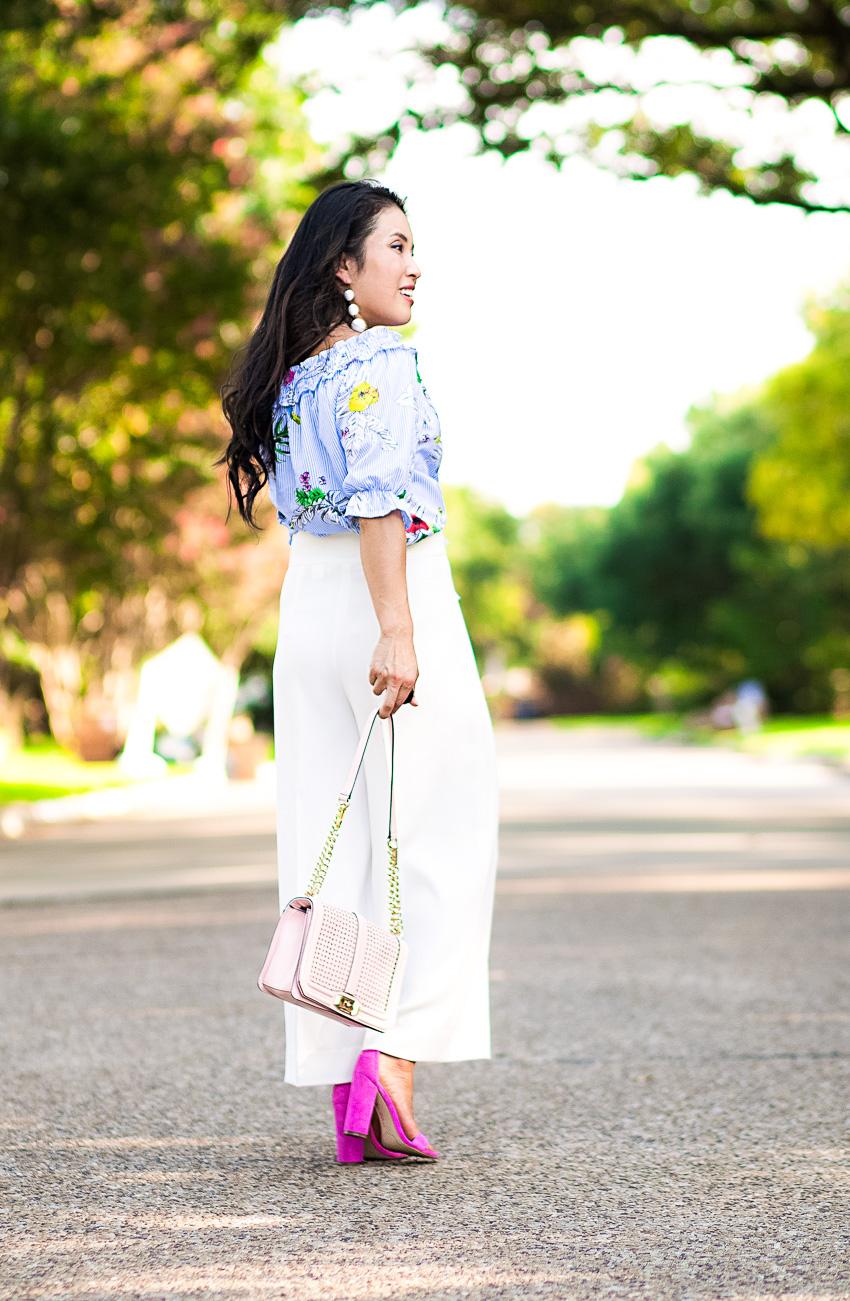cute & little blog | dallas petite fashion | blue floral off shoulder crop top, white culottes, pink bag, pink shoes | summer outfit