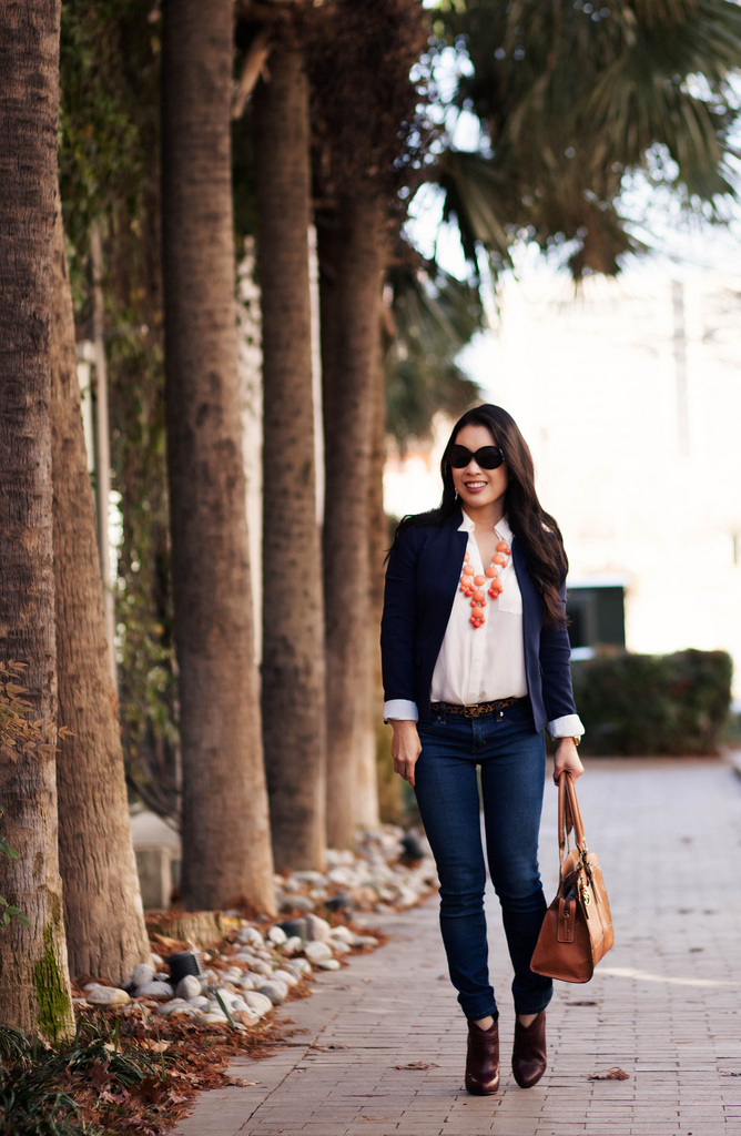 Navy Blazer + Bubble Necklace