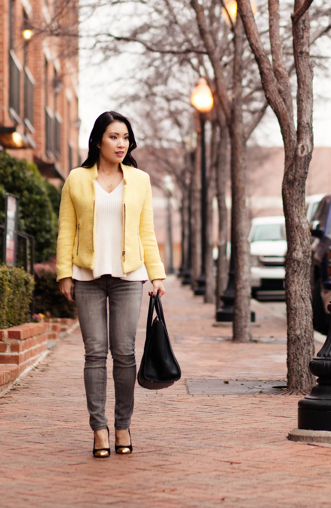 Yellow Blazer + Layered Necklaces