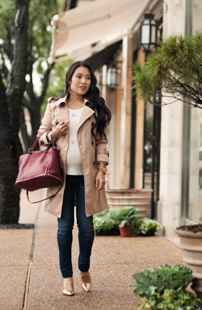 Classic Trench + Burgundy Studded Satchel // 28 Week Bump