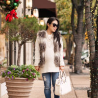 Striped Fur Vest + Pearls