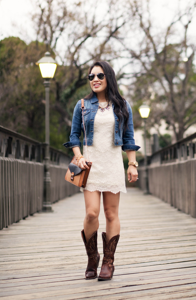 Lace Dress + Cowboy Boots // Ariat Boots Giveaway!