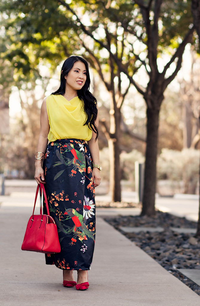 Floral Maxi + Red Bow Pumps