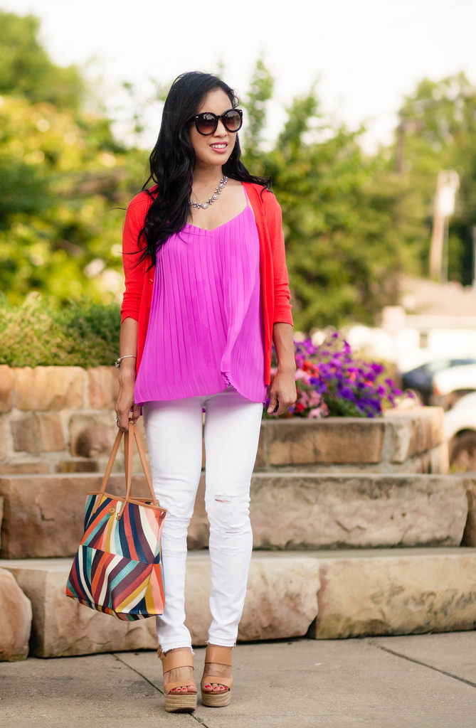 Pleated Cami + White Distressed Jeans