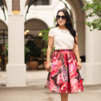 Red Floral Skirt + Red Bow Pumps