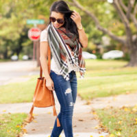Fall Blanket Scarf + Tassel Bucket Bag