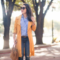 Draped Trench + Striped Shirt