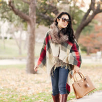 Fringe Plaid Cape + Fur Scarf