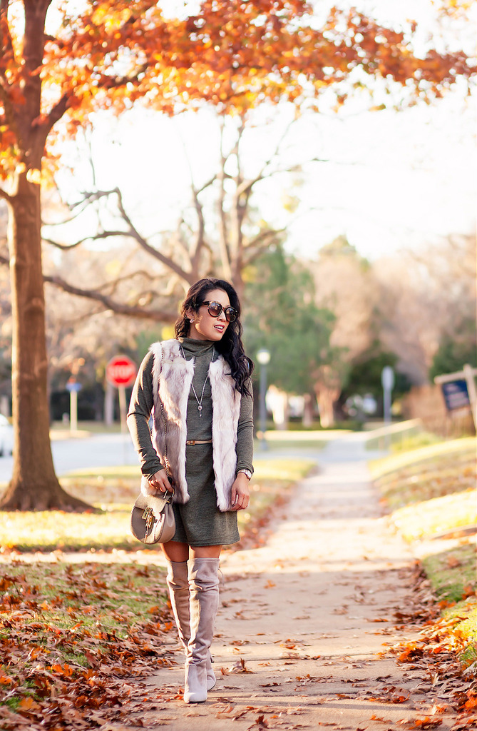 Faux Fur Vest + Sweater Dress