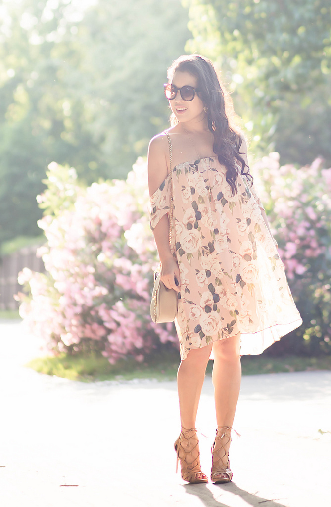 Romantic Vibes in Off-Shoulder Blush Florals