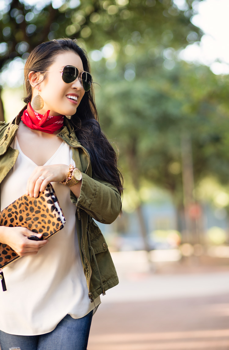 utility jacket, red bandana, open-toe booties, leopard clutch, ray ban aviators   spring fall outfit