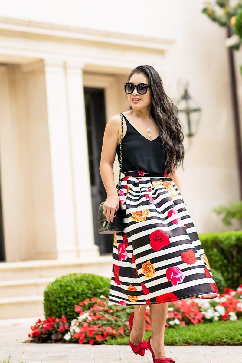 Striped Rose Midi Skirt