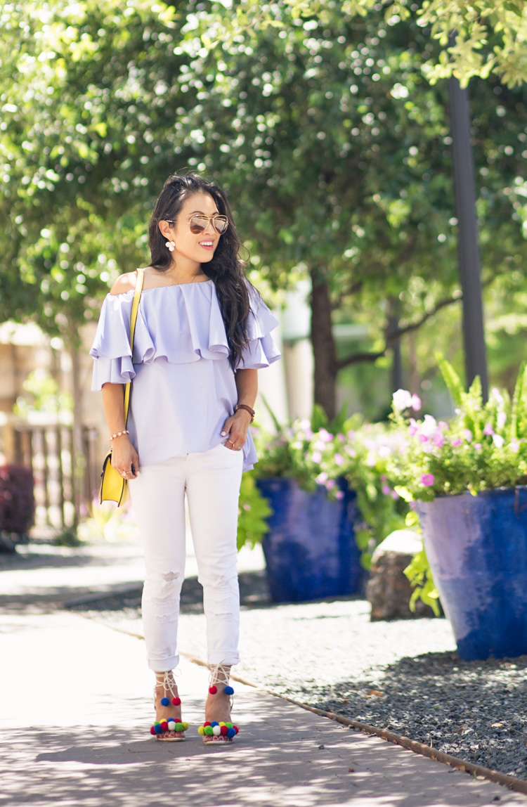 cute & little blog | off-shoulder ruffle check top, white distressed jeans, aquazzura pom pom sandals, yellow crossbody | spring summer outfit