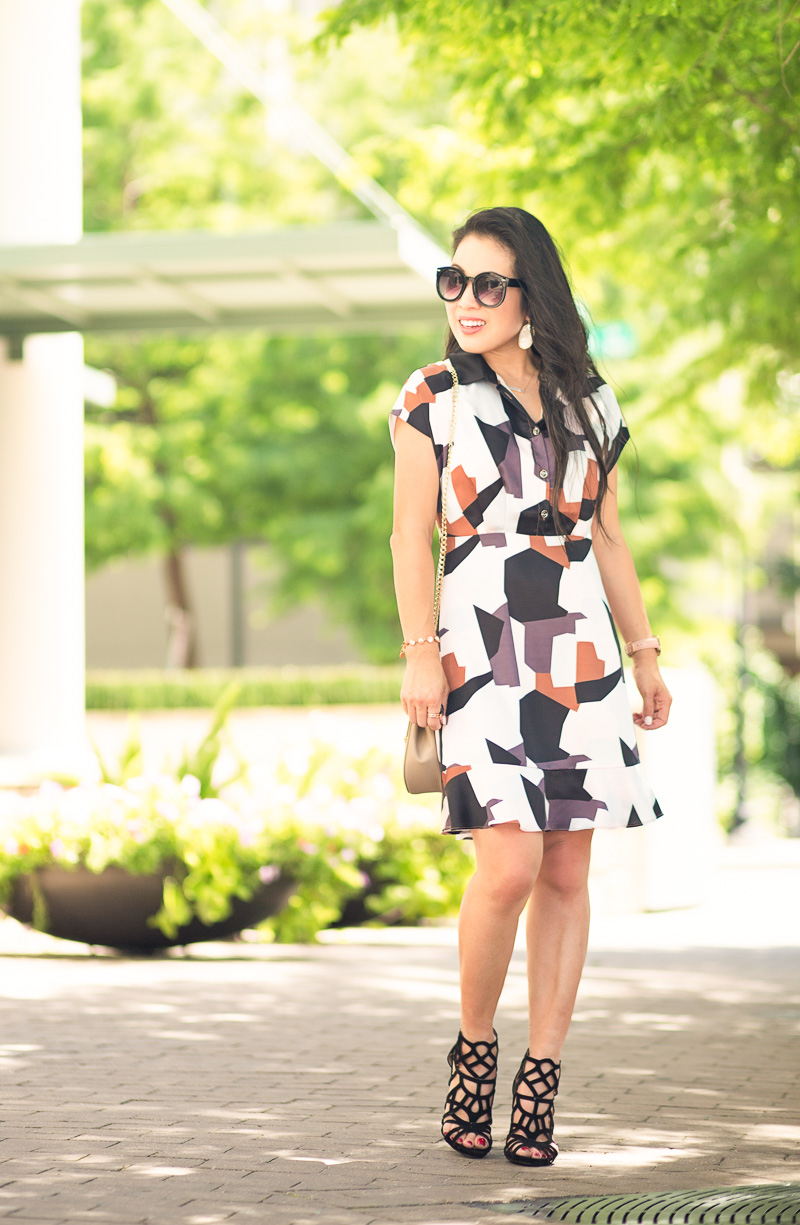 vipme colorblock graphic print dress, chloe drew, caged heels   summer outfit