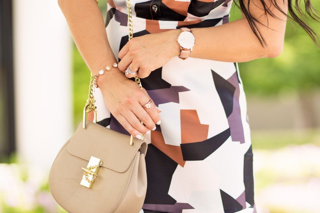 vipme colorblock graphic print dress, chloe drew, brosway jewelry   summer outfit