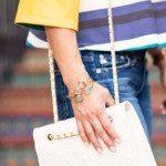 zara striped off-shoulder bell sleeve top, white tory burch bag, margaret elizabeth bangle stack   summer outfit