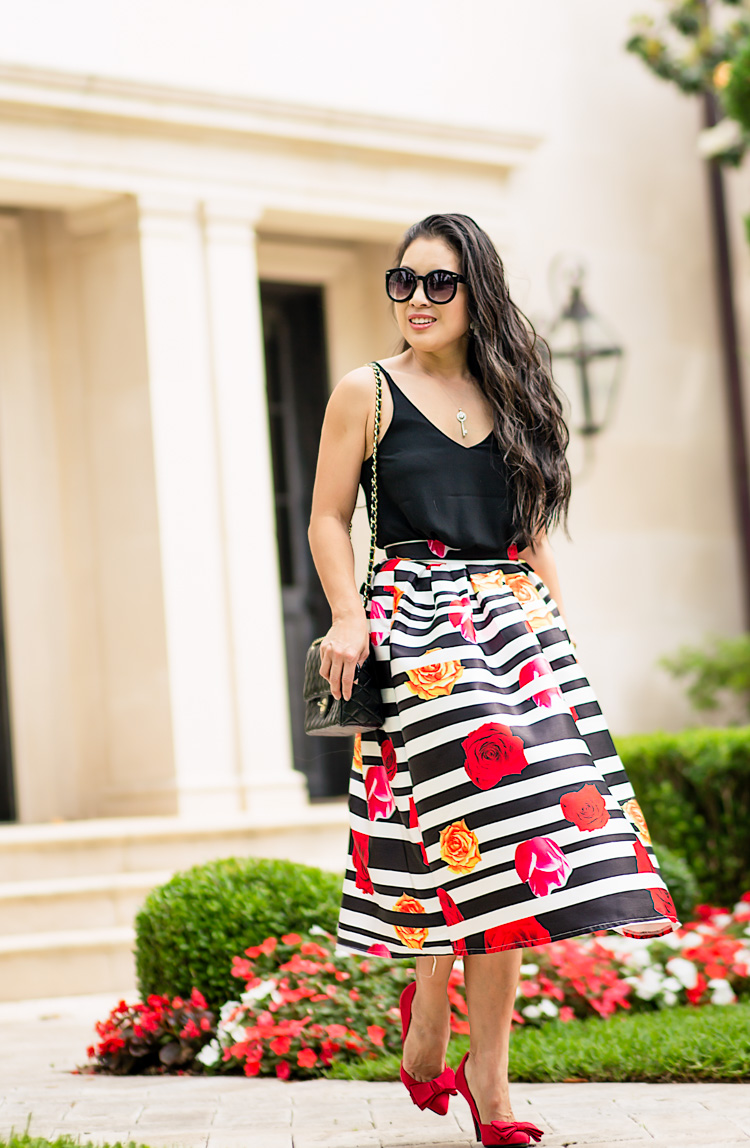 striped rose midi skirt, red bow heels | dressy spring summer outfit