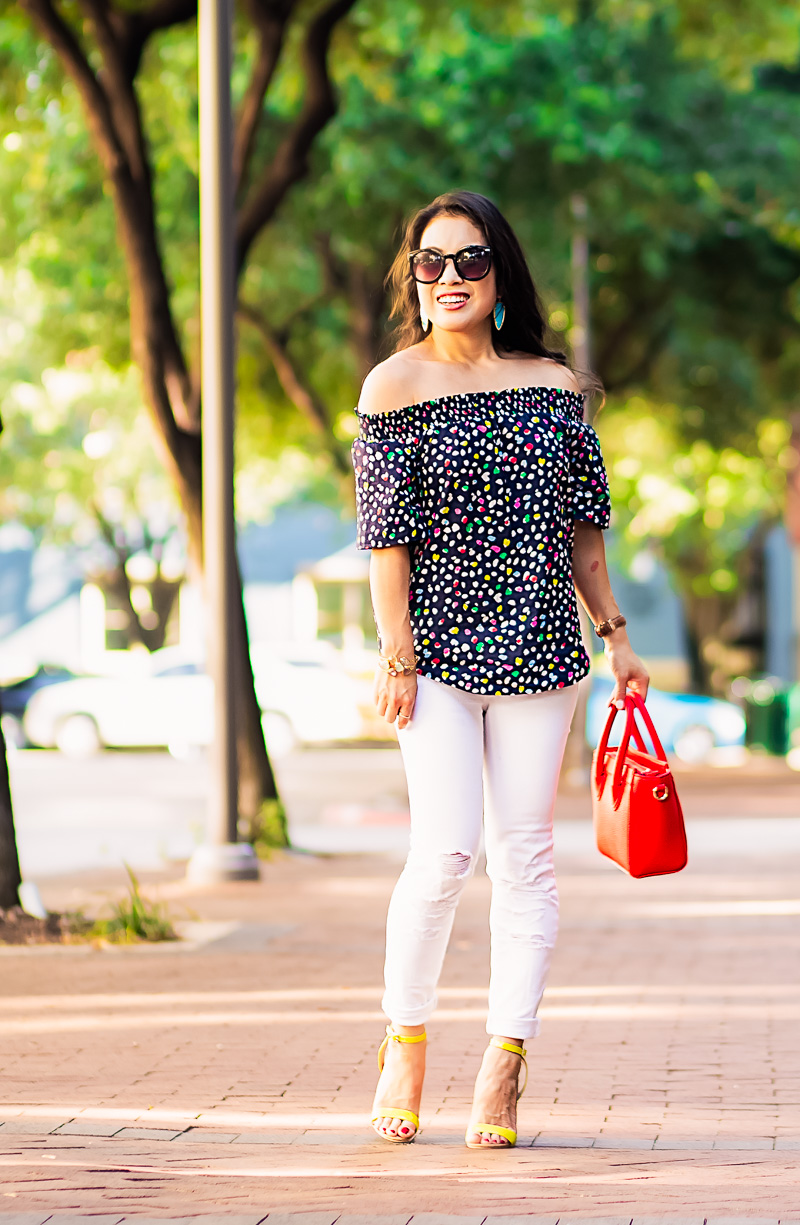 happy cat off shoulder top, white jeans, red nano celine, turquoise earrings | spring summer outfit