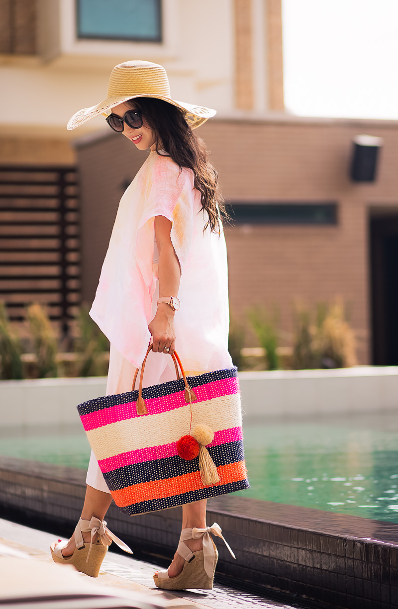 j.jill light flowy tunic pool beach coverup, straw hat, striped straw tote | summer outfit