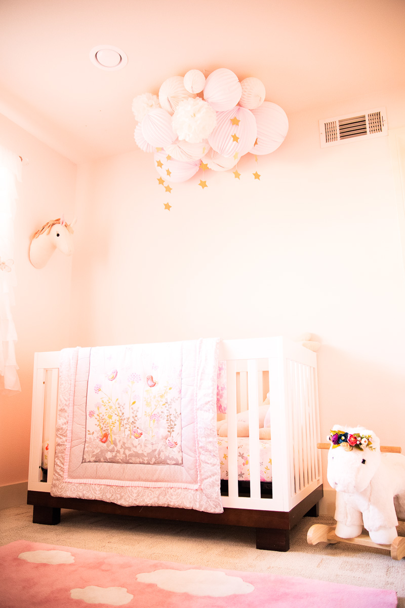 toddler girl unicorn butterfly pink nursery, unicorns crib rocker pom poms diy