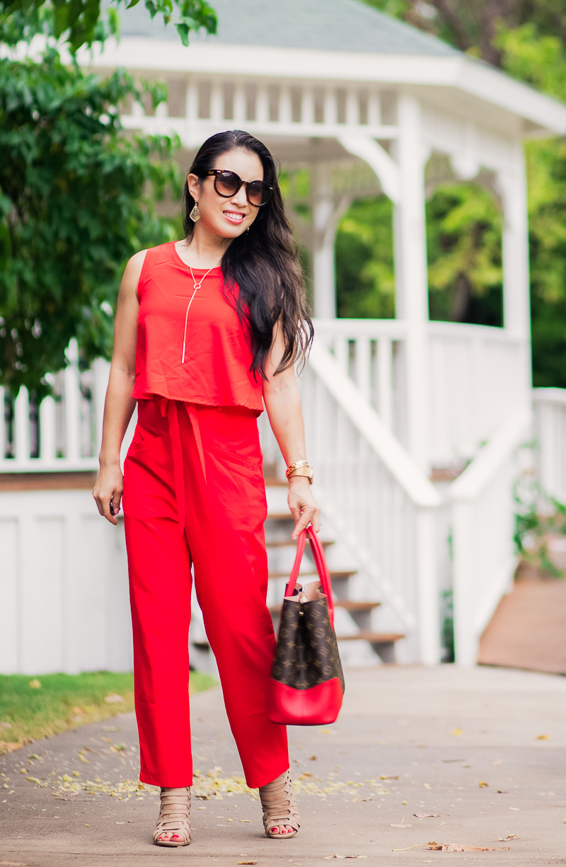 cute & little | petite fashion blog | red jumpsuit, kendra scott adair earrings, long y necklace, louis vuitton flandrin tote, nude strappy heels | summer date night outfit