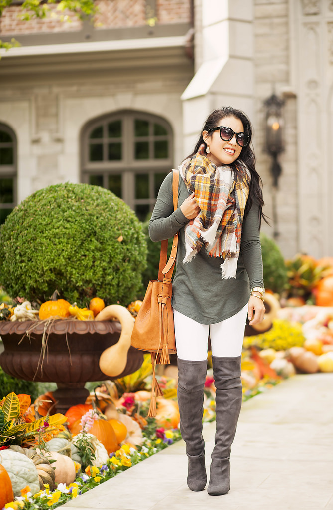 cute & little | petite fashion blog | blanket scarf, over the knee boots, bucket bag | fall outfit