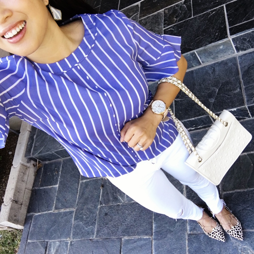 petite fashion blog | banana republic blue stripe ruffle sleeve top, white jeans, printed lace-up flats, tory burch quilted chain bag | summer outfit