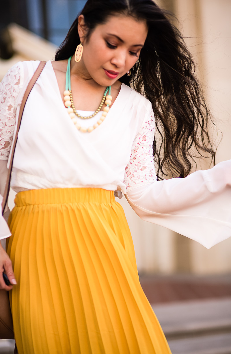 cute & little | petite fashion blog | white bell sleeve blouse, yellow pleated maxi skirt, gucci soho disco bag, the jones market mama necklace, ankle booties | summer fall transition outfit