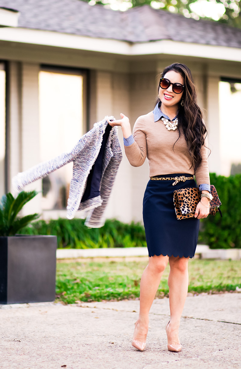 cute & little blog | petite fashion | tweed jacket, camel tippi sweater, navy scalloped skirt, louboutin nude patent so kate pumps | fall work outfit