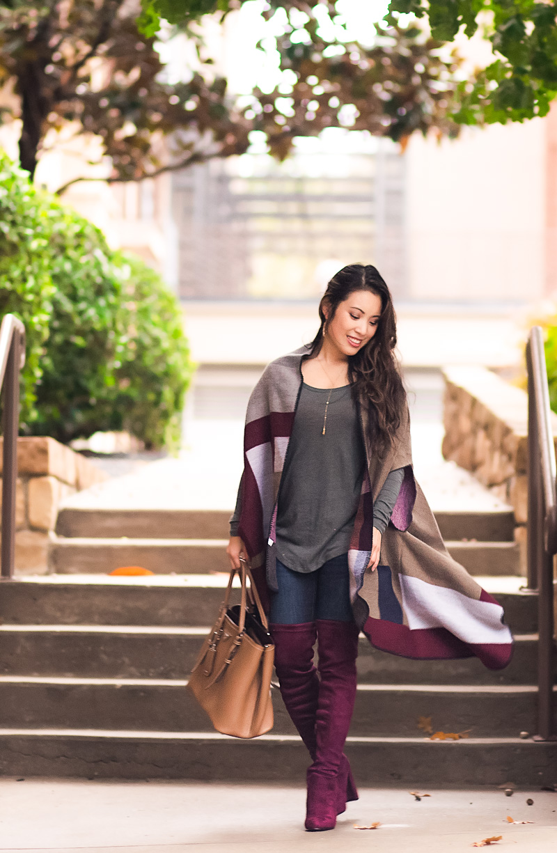 cute & little blog | colorblock cape, burgundy suede over the knee highland boots, prada cuir bag | fall winter outfit