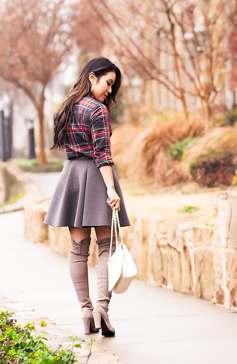 cute & little blog | petite fashion | stewart plaid shirt, gray pleated flare skater skirt, tory burch white quilted bag | fall winter outfit