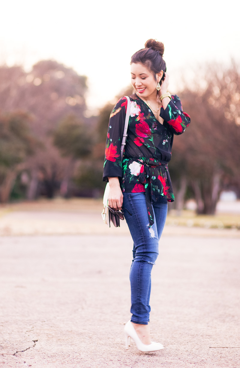 cute & little | petite fashion blog | express Chiffon Mesh Sheer Surplice Blouse, ag distressed jeans, chloe faye bag | fall outfit