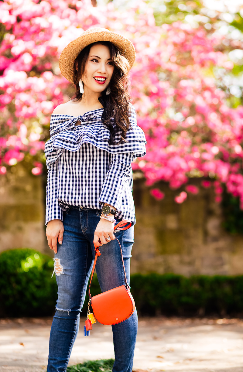Spring Outfit Trifecta:  Gingham, Ruffles, and Off Shoulder by petite fashion blogger Kileen from cute and little