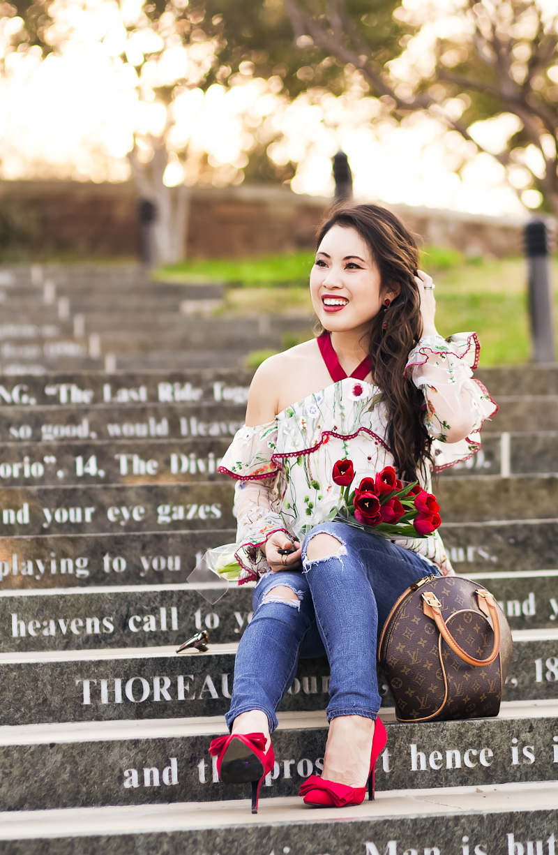 The Prettiest Embroidered Cold Shoulder Top by petite fashion blogger Kileen from cute and little