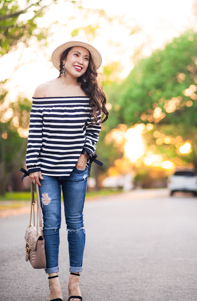 Off The Shoulder Top with Stripes and Bow Details by petite fashion blogger Kileen of cute & little